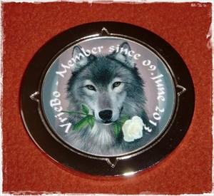 VrieBo´s Personal Geocoin - Wolf - Glänzend Silber