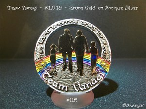 Team Yanagi Geocoin #115 - XLE 15 - 2tone Gold on