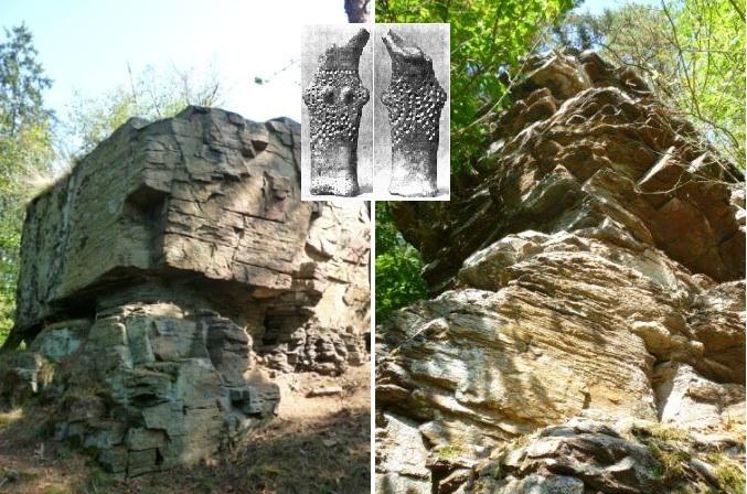 Obě hlavní skaliska a idol ženy nalezený zde při archeologických vykopávkách.
