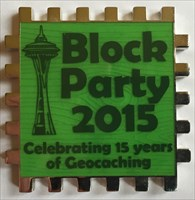 LordT's Block Party 2015 Cube 1/6 Geocoin - Front