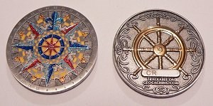 Compass Rose Geocoin antique silver and gold
