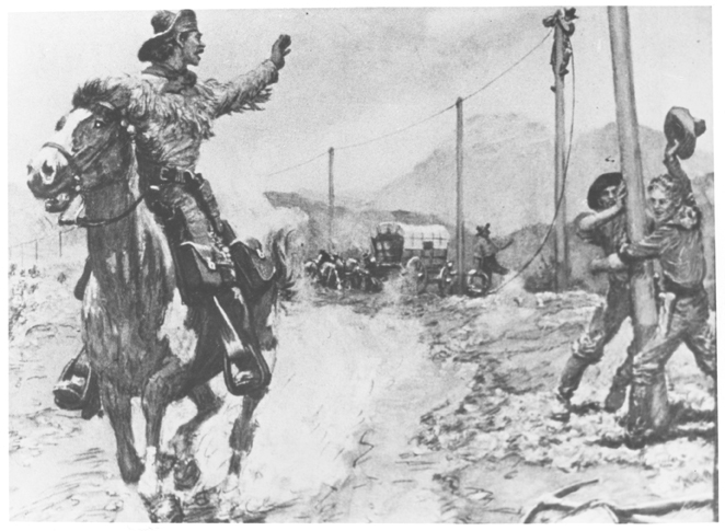A Pony Express rider waves goodbye to the new hi-tech telegraph line/ workers