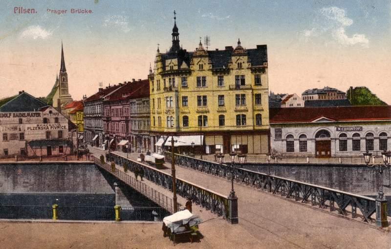 Ocelovy most na historicke pohlednici