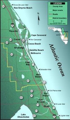 GCGPJ Sediment Strewn Lagoon Earthcache In Florida United - Indian river lagoon map
