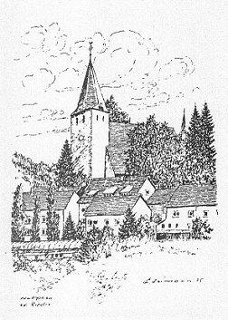 Zeichnung der Netpher Martini-Kirche