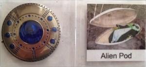 Alien Spaceship Geocoin with photo of alien pod