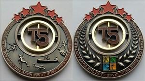 T5 Geocoin - Antique Silver, Golden Ring, Red Star