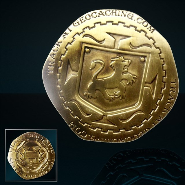 TB439EF) Pirate Doubloon - Piece of Eight Geocoin - Pirate Doubloon