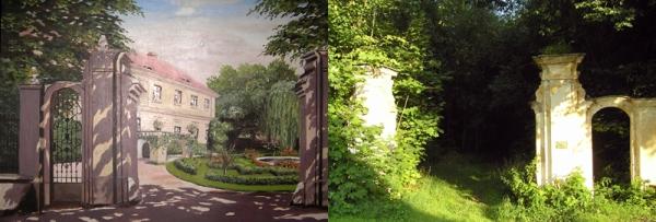 Původní vzhled zámku a současná podoba k 08-2011