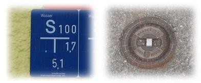 Hinweisschild und Deckel / water line sign and lid