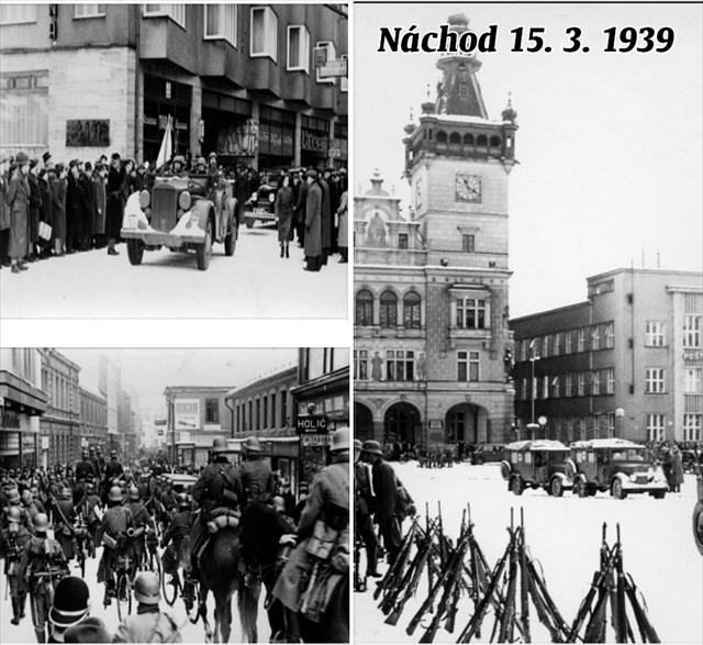 začátek a konec Kamenice v Náchodě + náměstí 15.3.1939
