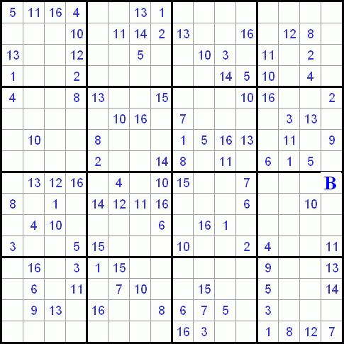Sudoku 16x16 on Numbers Worksheets