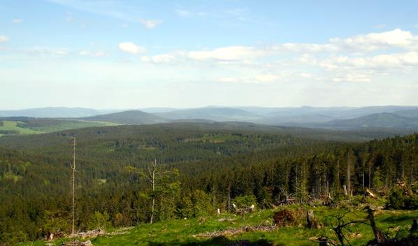 Výhled k východu na střední Šumavu