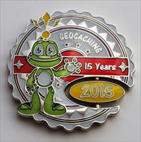 15 Years of Geocaching Geocoin (Front)