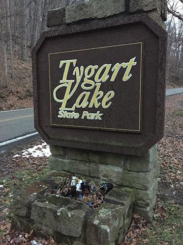 Tygart Lake State Park Sign