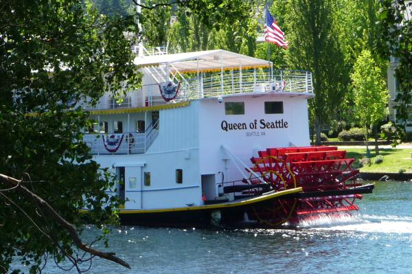 The Queen of Seattle is the largest steam-powered paddle wheeler west of the Mississippi.