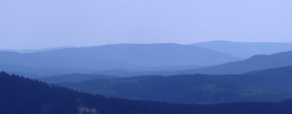 Křemelná a Huťská hora ze Špičáku