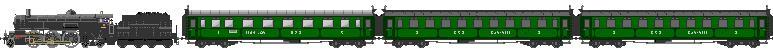 1918: Rychlík sestavený z lokomotivy řady 475.0, vozu 1. a 2. třídy řady ABa a vozu 3. třídy řady Ca
