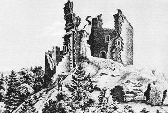 Jihozápadní nároží na litografii z roku 1848 podle nákresu F. A. Hebera