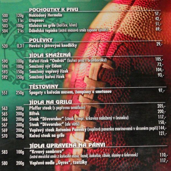 Saloon menu 1