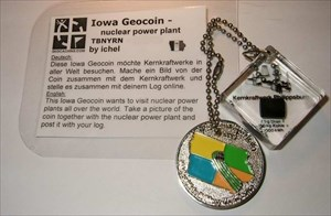 Iowa Geocoin - nuclear power plant