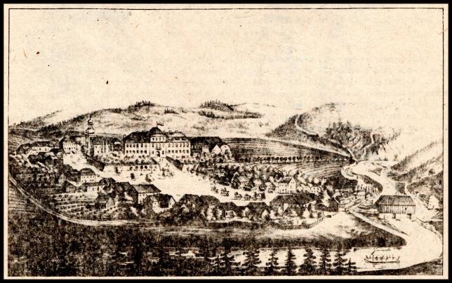Pohled na zamek a ves z prvni pol. 19. stol(litografie ulozena ve stribrskem muzeu)