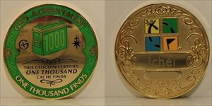 1000 Finds Geo-Achievement Geocoin