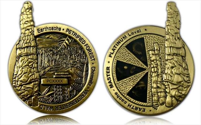 Earthcache Coin Petrified Wood Chemnitz Geocoin