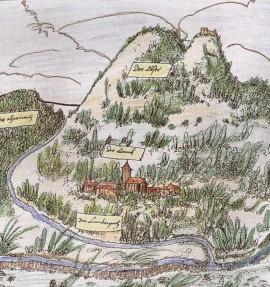 Lam a Ostrý s hradem na hraniční mapě z roku 1514