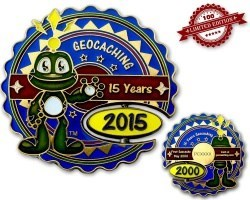 15 Years Geocaching Geocoin Blue LE 100