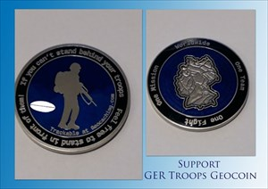 Support GER Troops Geocoin - NIGHT LE 118