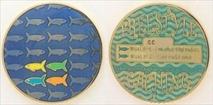 Freestyle Fish Geocoin Gold