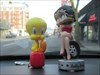 Tweety & Betty Boop  Granville Street in Vancouver Tweety meeting a local Bobble Head ,Betty Boop , seeing some of Vancouver BC , driving around in a PT Cruiser