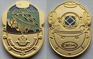 Deep Diving Caching Geocoin - Satin Gold AE 10