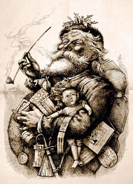 This work is in the public domain in the United States, and those countries with a copyright term of life of the author plus 100 years or less. http://commons.wikimedia.org/wiki/File:MerryOldSanta.jpg