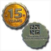 15 Years of Geocaching Nano Geocoins