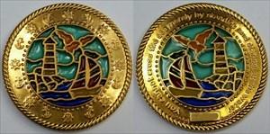 BoatLighthouse Suncatcher Geocoin - Polished Gold