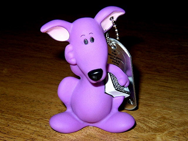 (TBGVM1) Travel Bug Dog Tag - Purple Kangaroo from Blues Clues