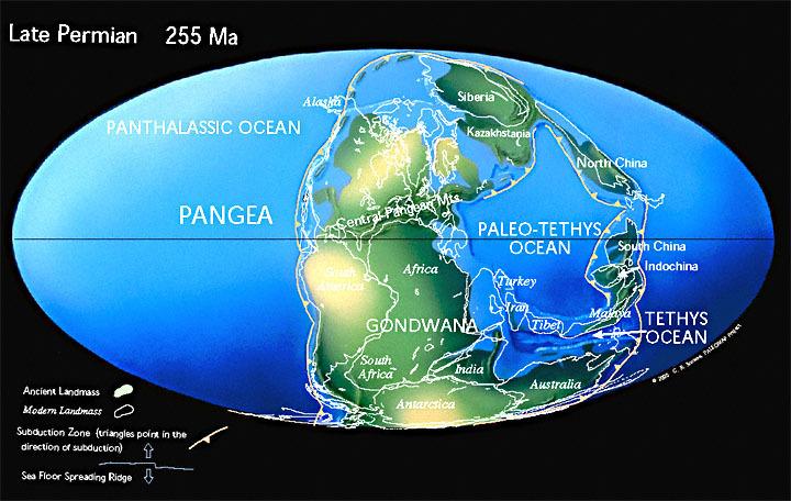 La Terre à la fin du Permien.