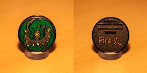 Spiral Dragon Geocoin - Fire