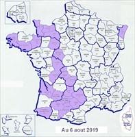 Les departements français visités au 6 aout 2019