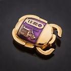 Egyptian Scarab Geocoin ShinyGold-Purple