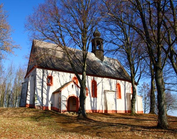 Kostel sv. Linharta a lípy na jižní straně