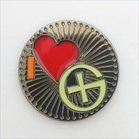 I Love geocaching geocoin front