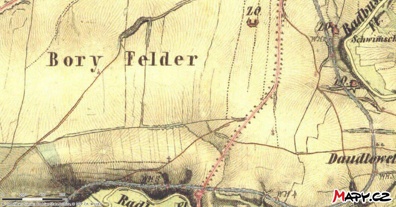 Mapa Bor z 19. století z mapy.cz