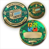 15000 Finds Geo-Achievement Geocoin