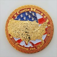CM/CW Caching 2 Countries Geocoin gold front