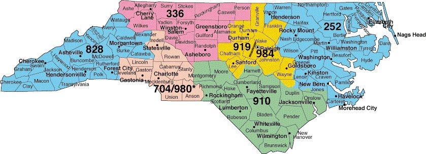 Area code for north carolina