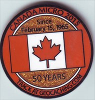 Canada Micro 2015 Geocoin Front