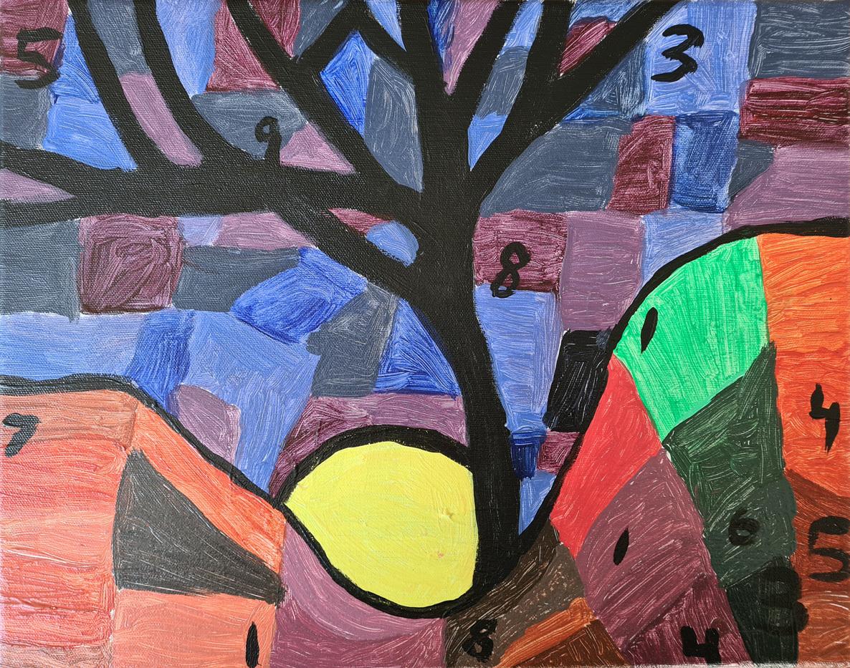 Tavla med färger och siffror